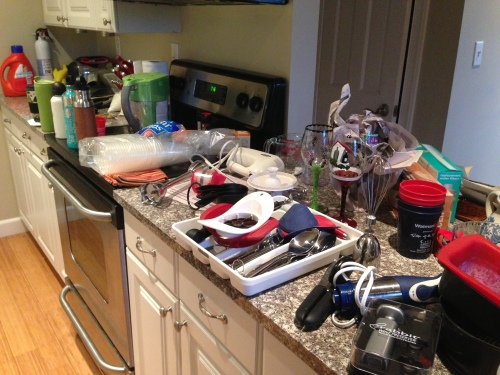 my kitchen in the packing process