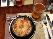 French onion soup and a wheat beer