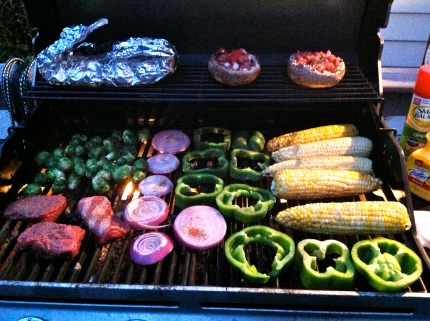 grilling up a storm of veggies