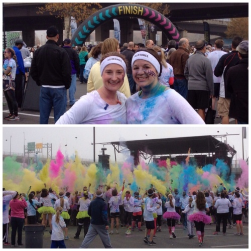finish line and color throw