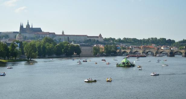 paddle boats in the Vltava River