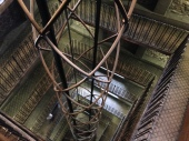 looking down the elevator shaft