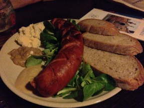 sausage with mustards and horseradish