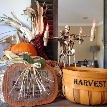 fall decor pumpkin harvest corn hay bale