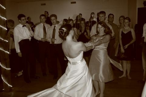 Carin and Me twirling at her wedding