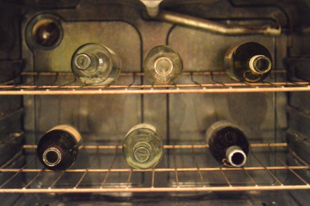 wine bottles in the oven