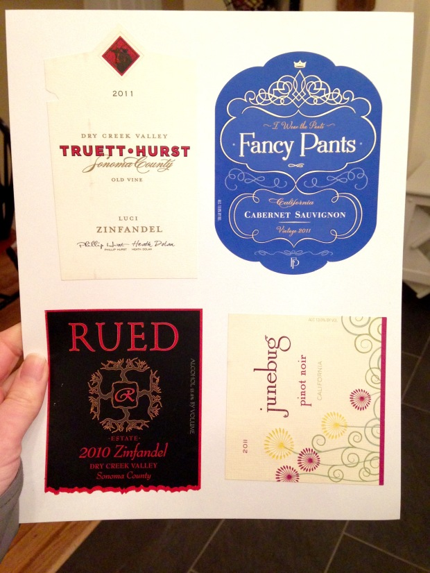 sheet of wine labels